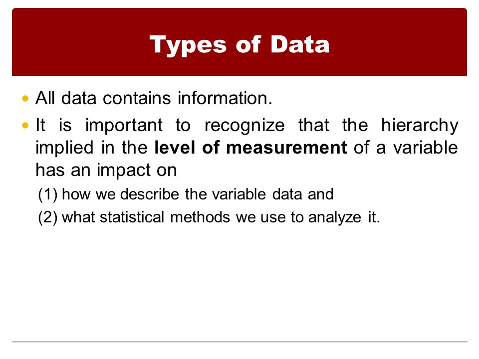 Types of Data All data contains information.