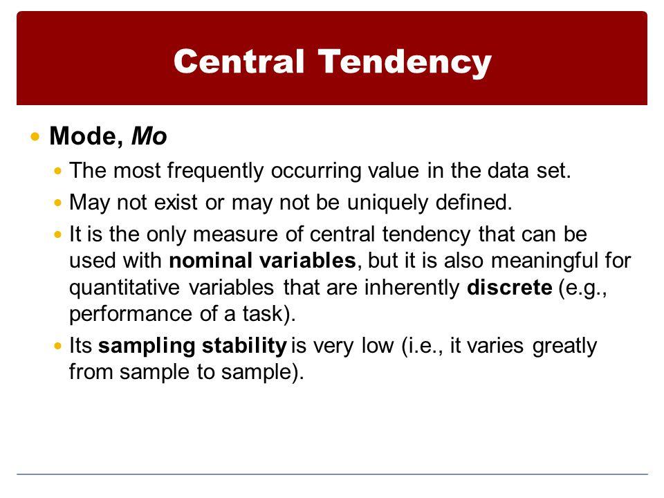 Central Tendency Mode, Mo