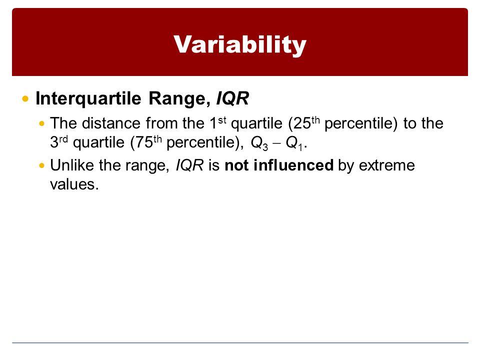 Variability Interquartile Range, IQR