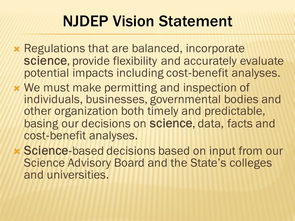 NJDEP Vision Statement