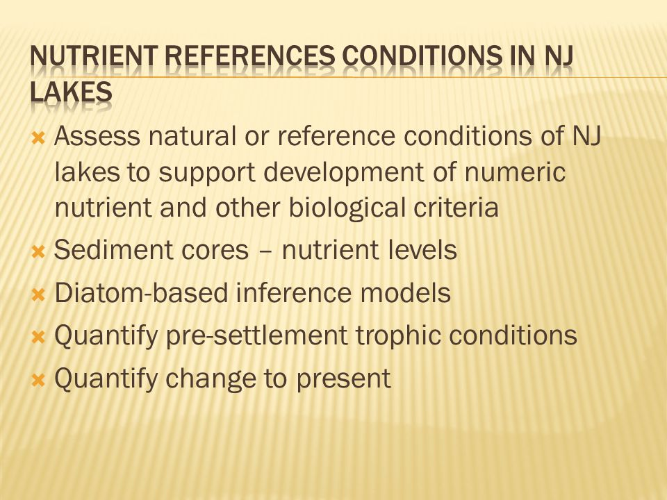 Nutrient References Conditions in NJ Lakes