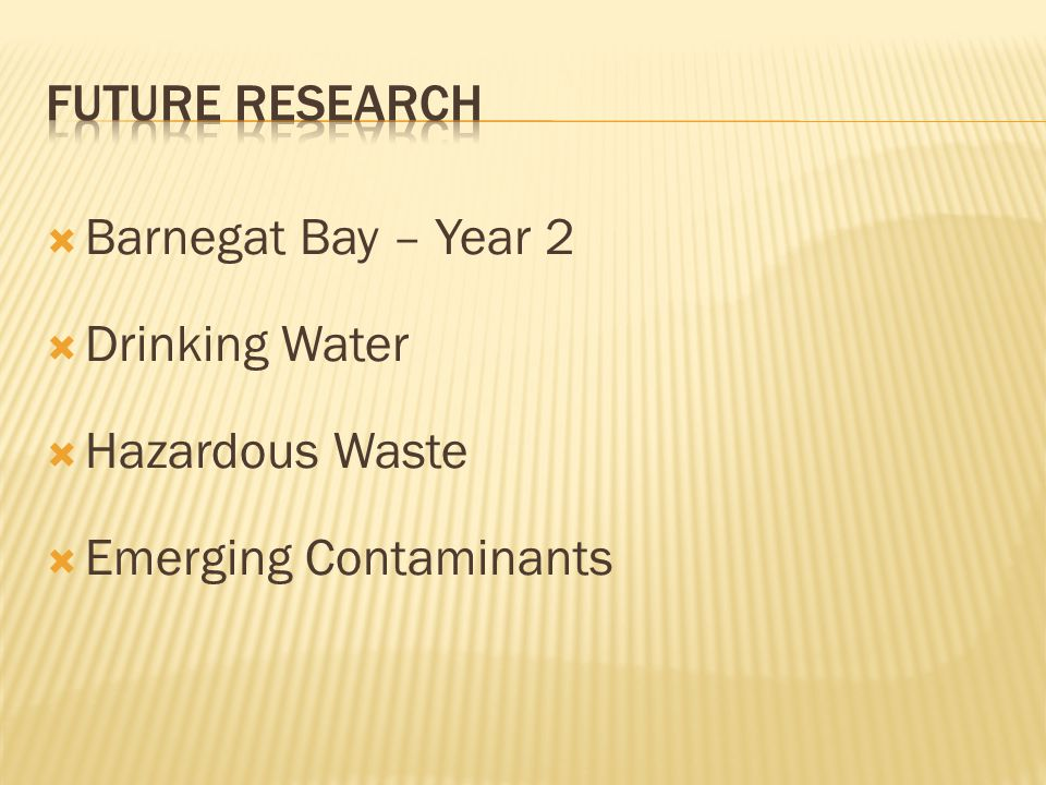 Future research Barnegat Bay – Year 2 Drinking Water Hazardous Waste Emerging Contaminants