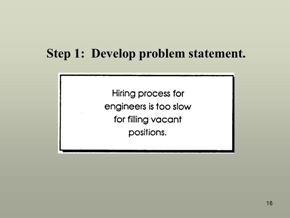 Step 1: Develop problem statement.