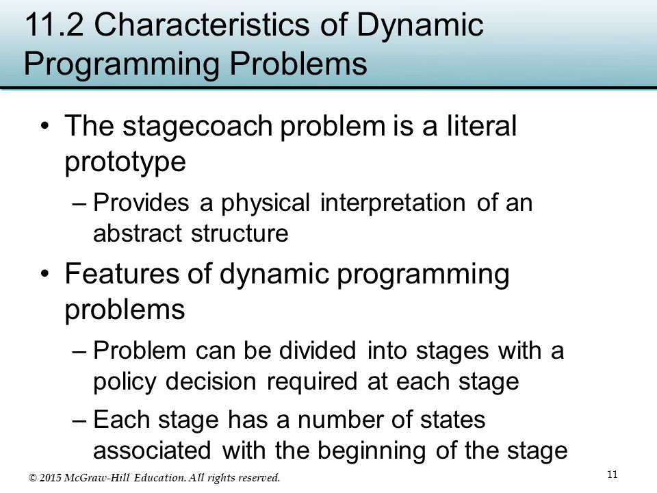 11.2 Characteristics of Dynamic Programming Problems