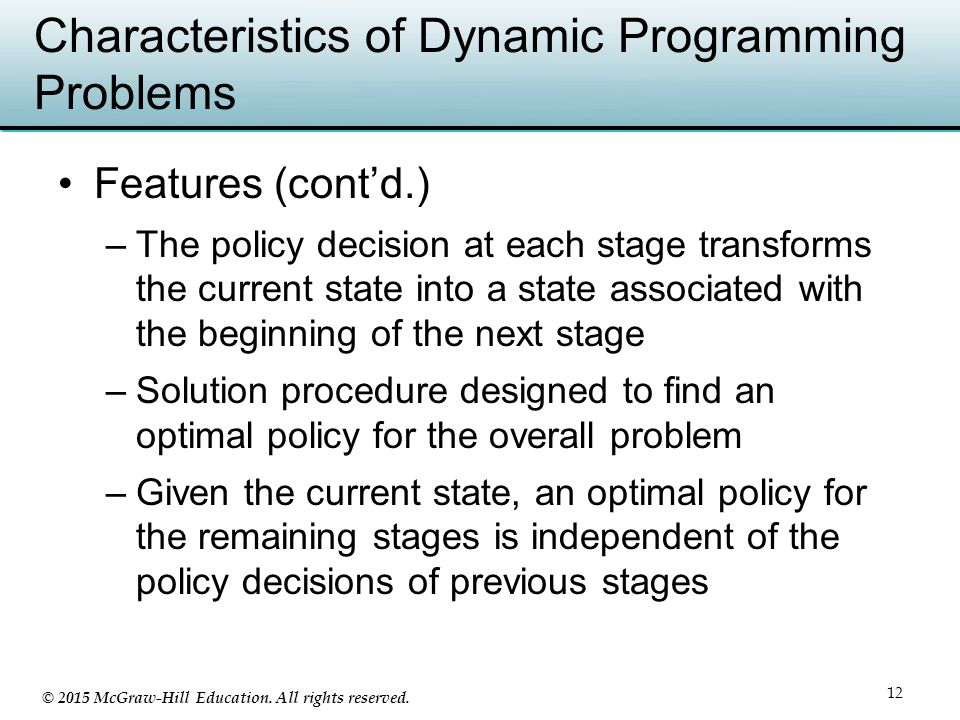 Characteristics of Dynamic Programming Problems