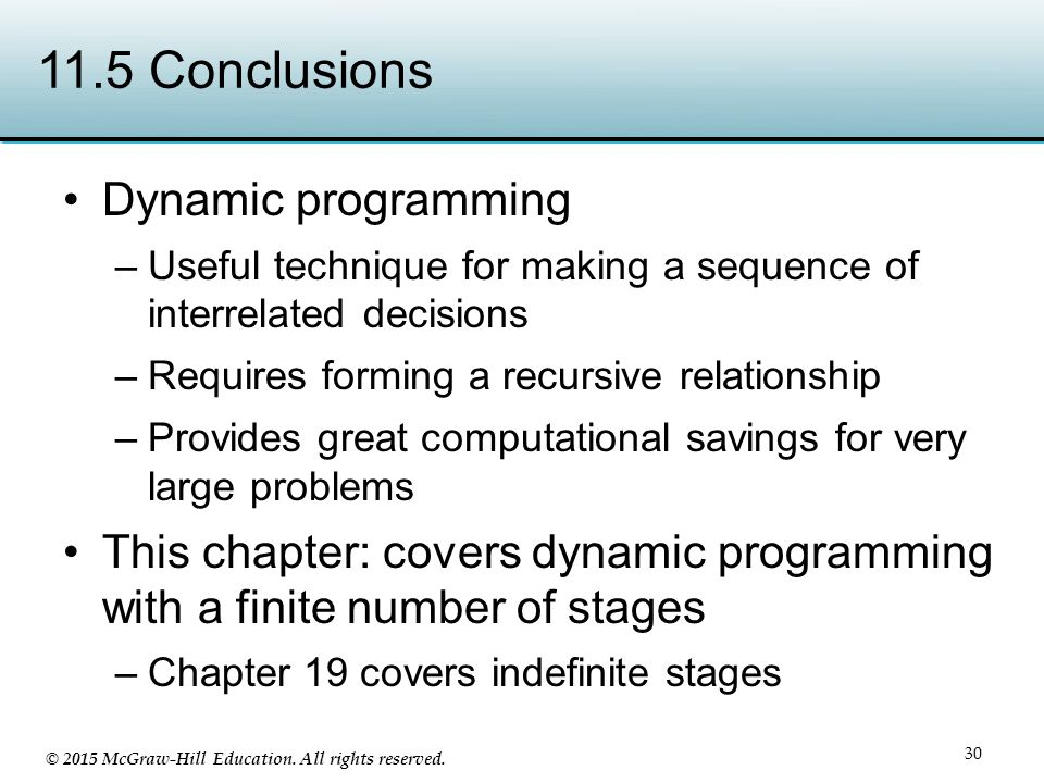 11.5 Conclusions Dynamic programming