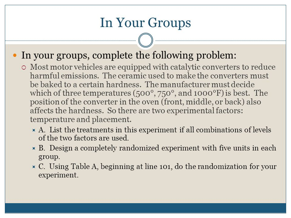 In Your Groups In your groups, complete the following problem: