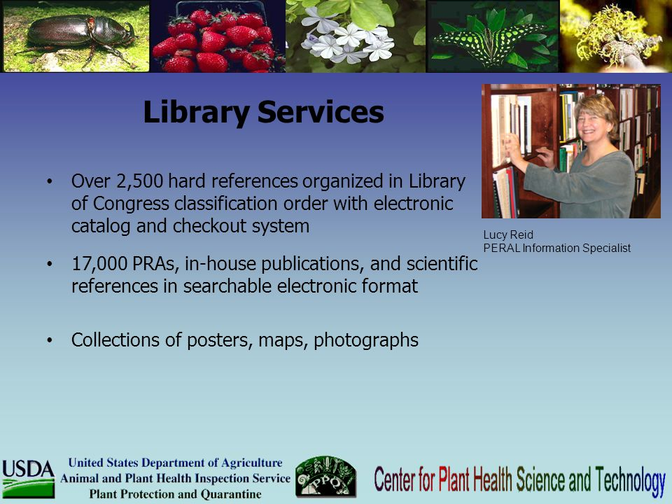 Library Services Over 2,500 hard references organized in Library of Congress classification order with electronic catalog and checkout system.