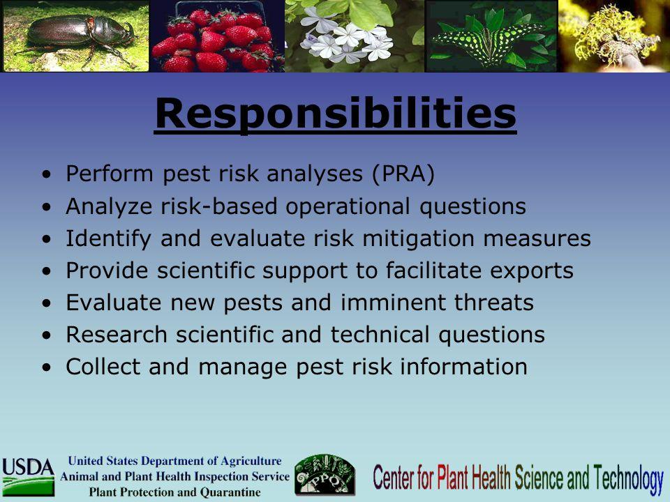 Responsibilities Perform pest risk analyses (PRA)
