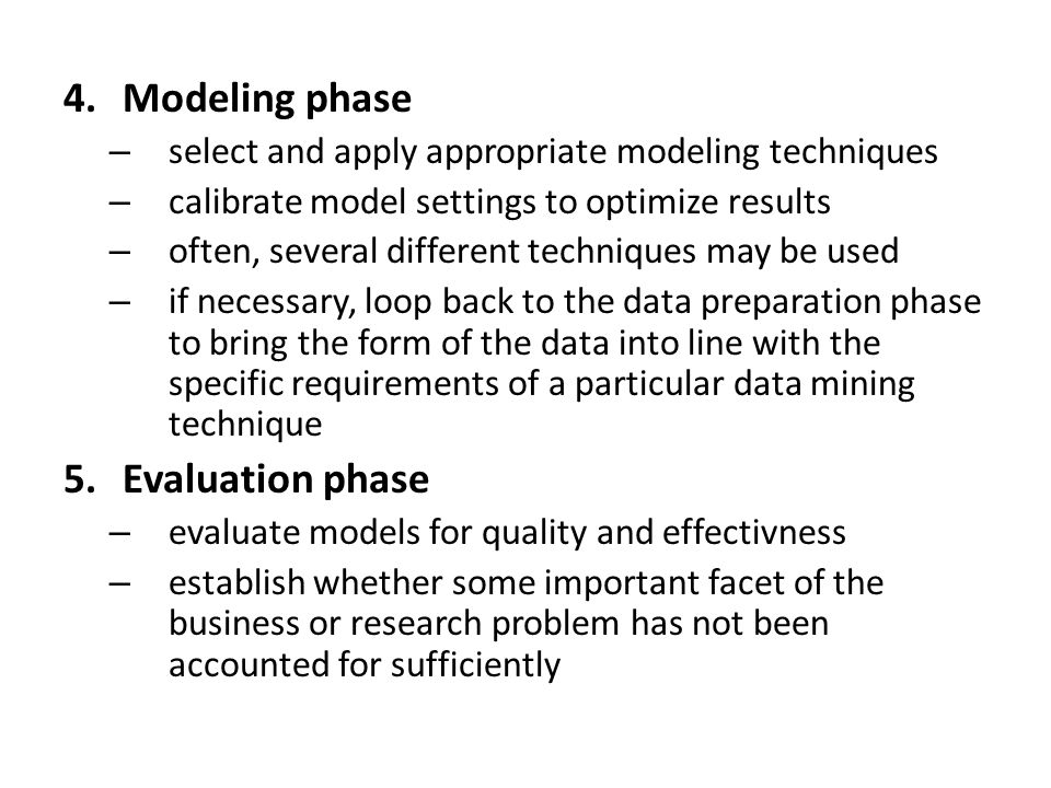 Modeling phase Evaluation phase