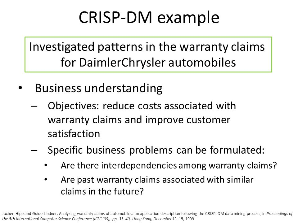 CRISP-DM example Investigated patterns in the warranty claims