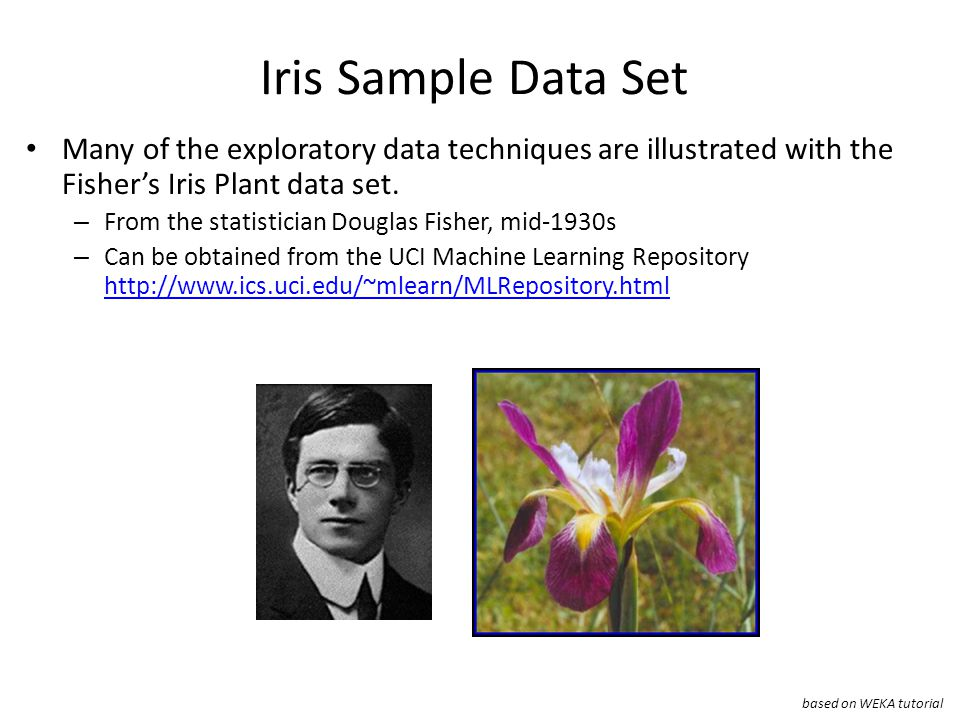Iris Sample Data Set Many of the exploratory data techniques are illustrated with the Fisher's Iris Plant data set.