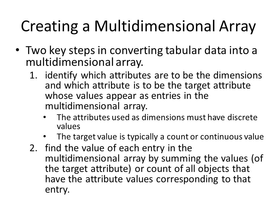 Creating a Multidimensional Array