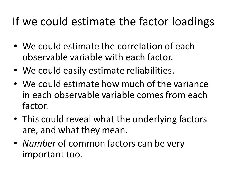 If we could estimate the factor loadings