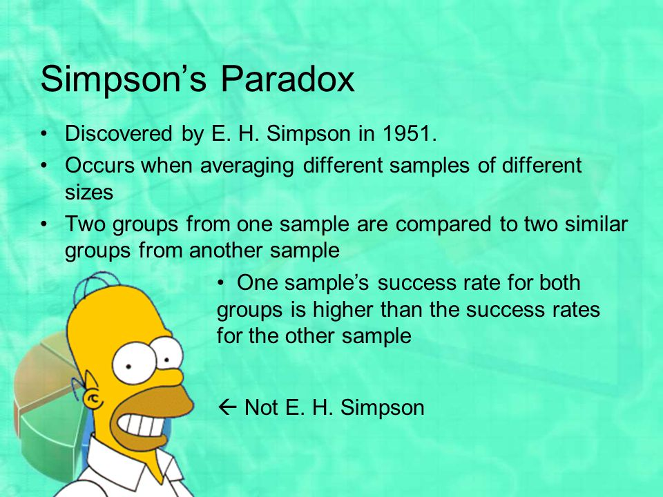 Simpson's Paradox Discovered by E. H. Simpson in 1951.