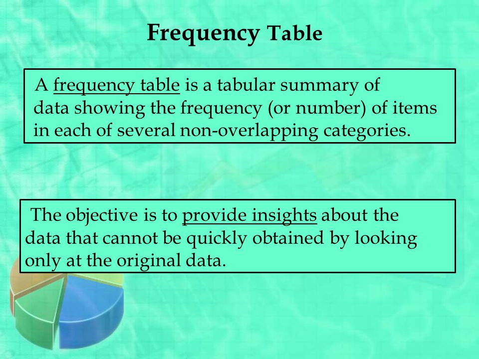 Frequency Table A frequency table is a tabular summary of