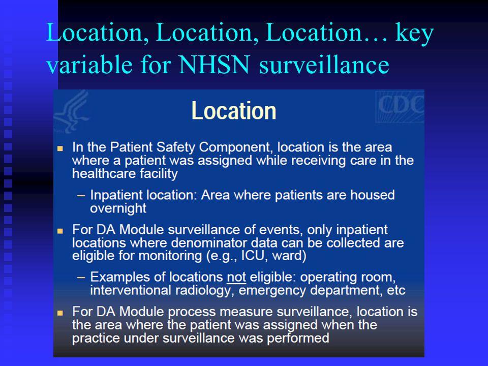 Location, Location, Location… key variable for NHSN surveillance
