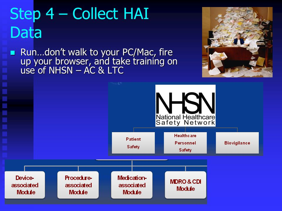 Step 4 – Collect HAI Data Run…don't walk to your PC/Mac, fire up your browser, and take training on use of NHSN – AC & LTC.