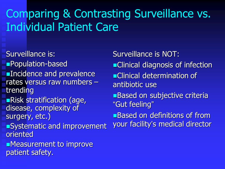 Comparing & Contrasting Surveillance vs. Individual Patient Care