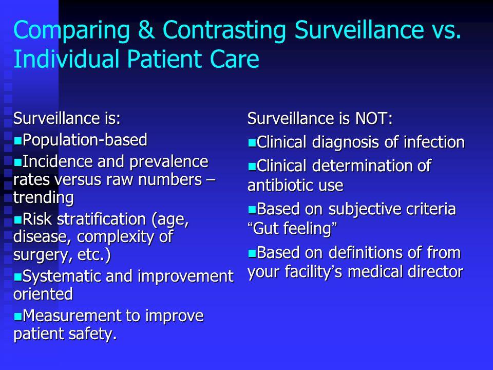 Comparing & Contrasting Surveillance vs. Individual Patient Care