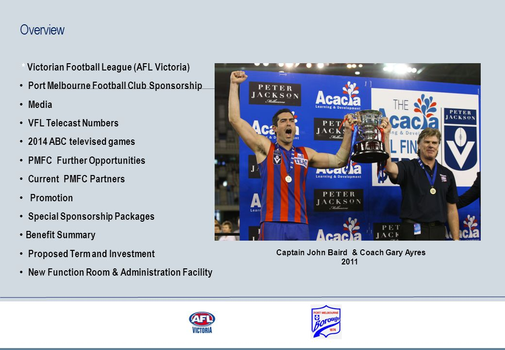 AFL Victoria AFL Victoria is the state-level sport governing body for Australian rules football in Victoria.