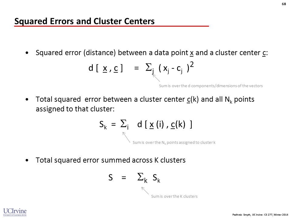 Squared Errors and Cluster Centers