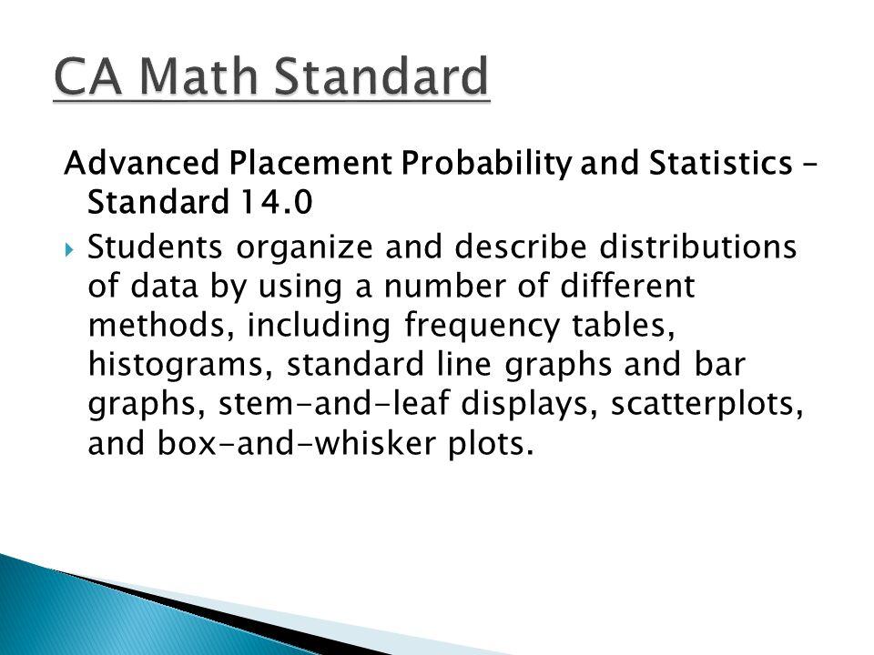 CA Math Standard Advanced Placement Probability and Statistics – Standard 14.0.