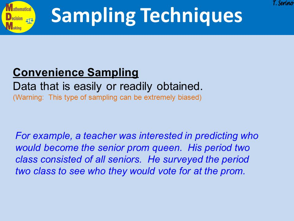 Sampling Techniques Convenience Sampling