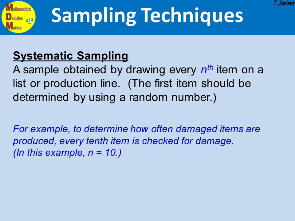 Sampling Techniques Systematic Sampling