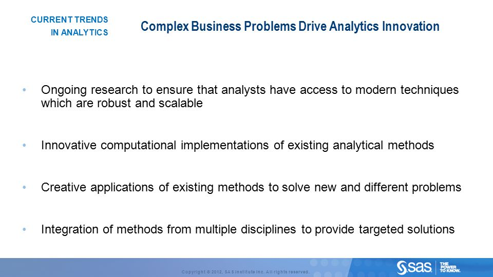 Complex Business Problems Drive Analytics Innovation