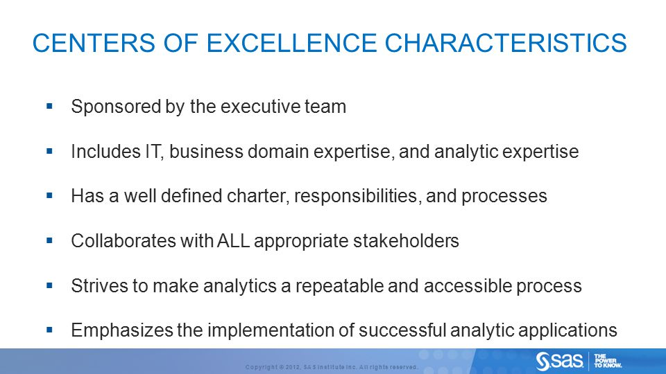 Centers of excellence Characteristics