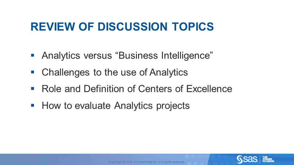 REVIEW OF Discussion Topics