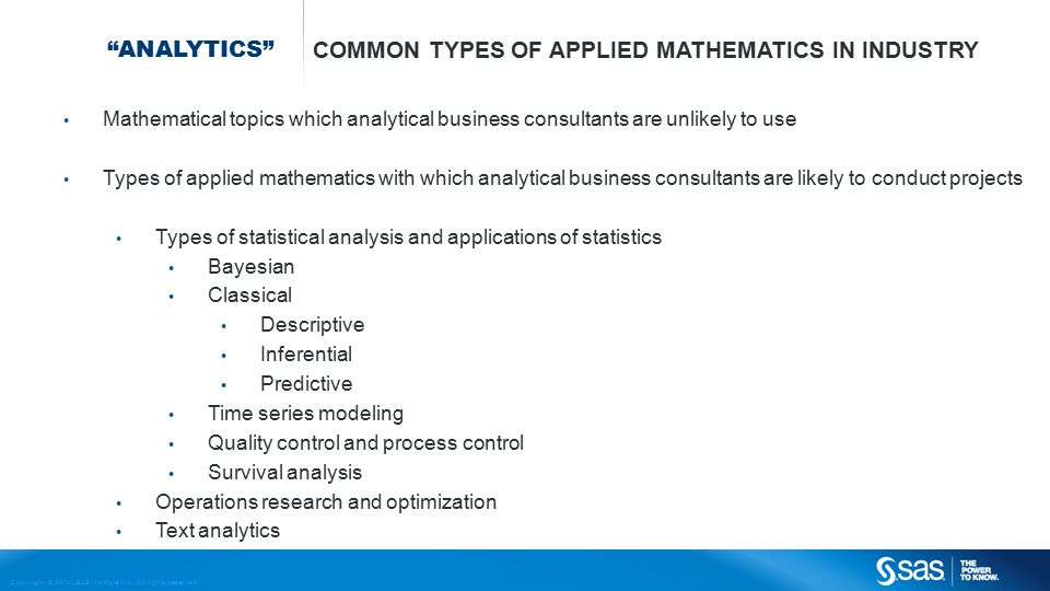 Common types of Applied Mathematics in Industry
