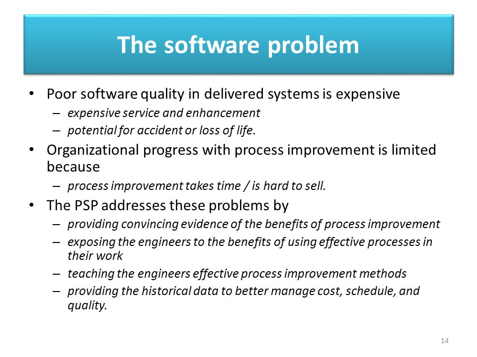 The software problem Poor software quality in delivered systems is expensive. expensive service and enhancement.