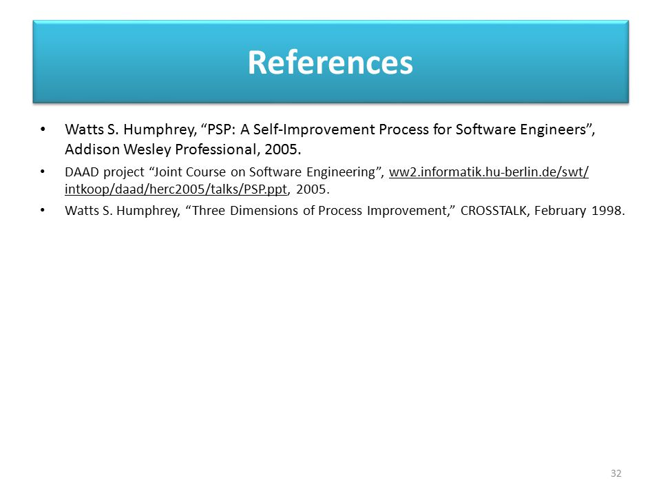 References Watts S. Humphrey, PSP: A Self-Improvement Process for Software Engineers , Addison Wesley Professional, 2005.