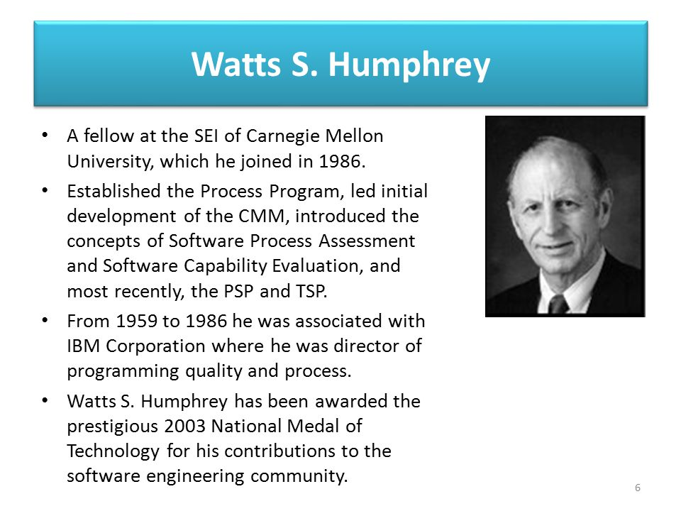 Watts S. Humphrey A fellow at the SEI of Carnegie Mellon University, which he joined in 1986.