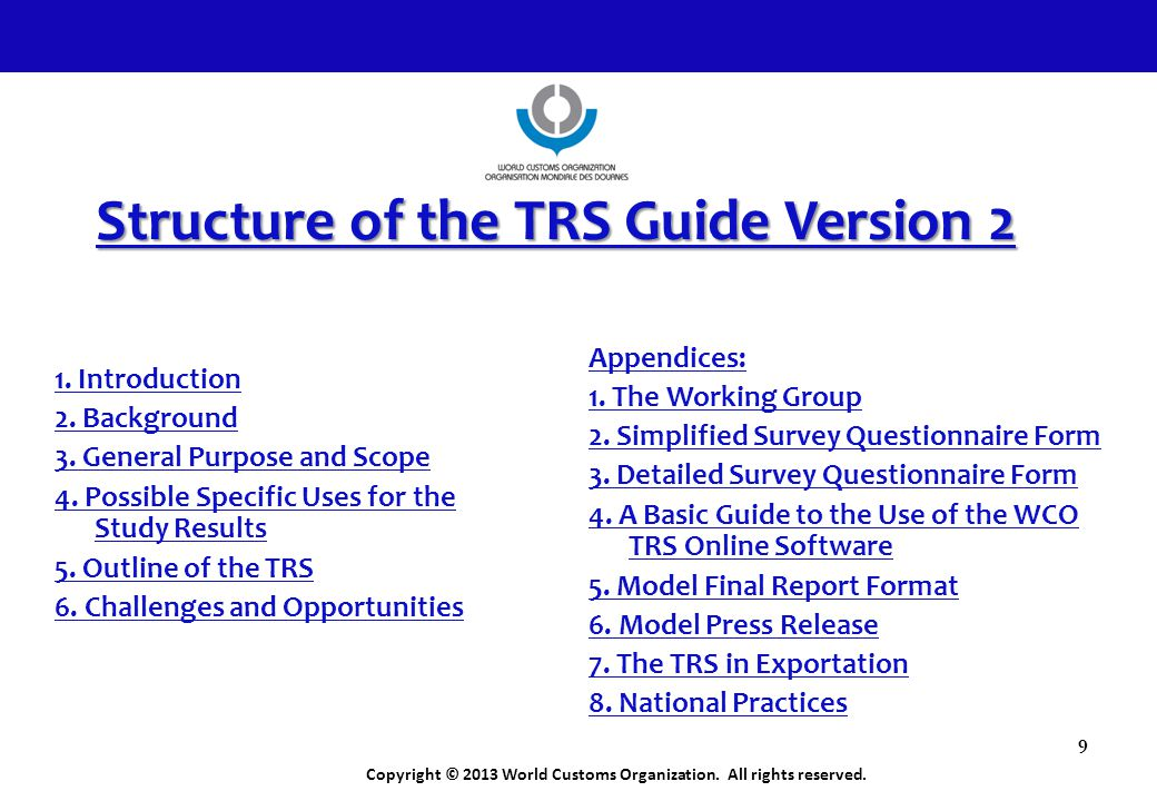 Structure of the TRS Guide Version 2