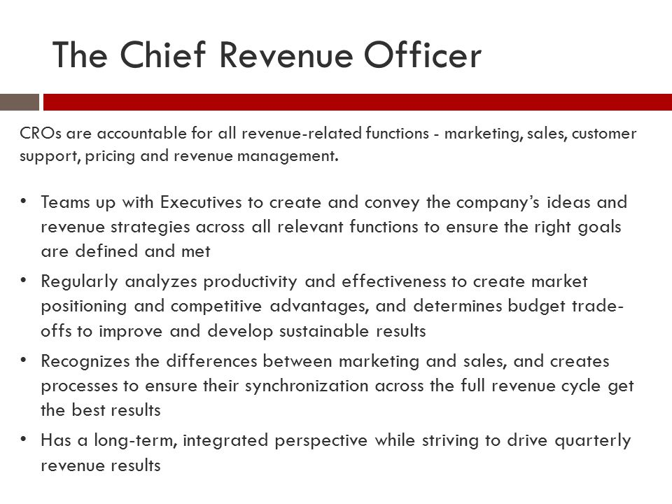 The Chief Revenue Officer