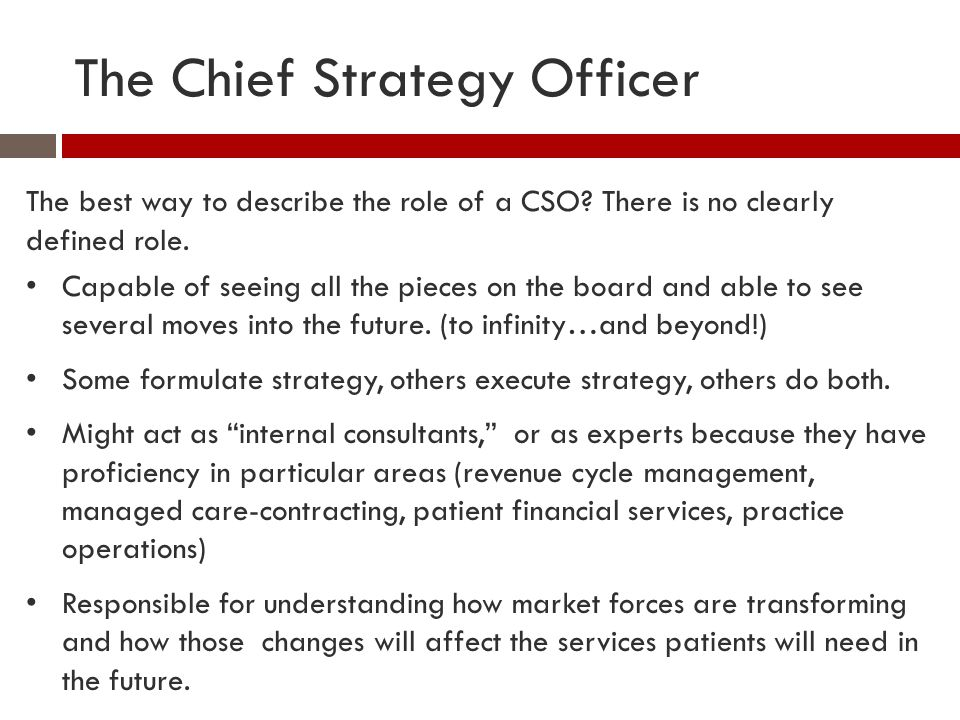 The Chief Strategy Officer