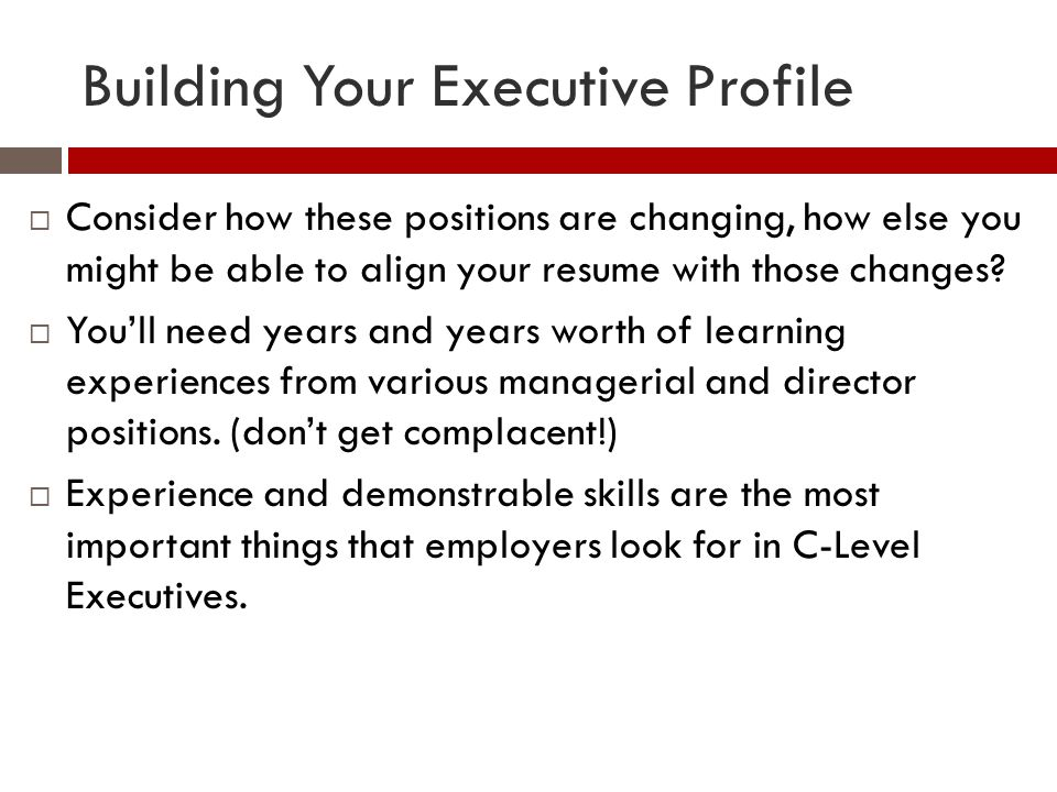 Building Your Executive Profile
