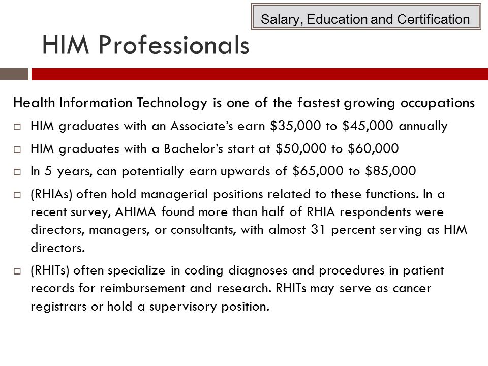 Salary, Education and Certification