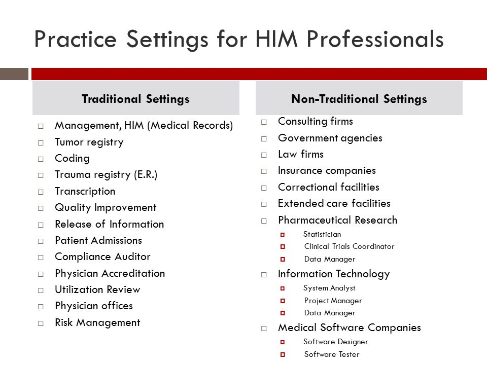 Practice Settings for HIM Professionals