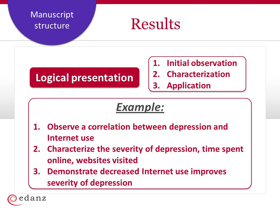 Results Example: Logical presentation Initial observation