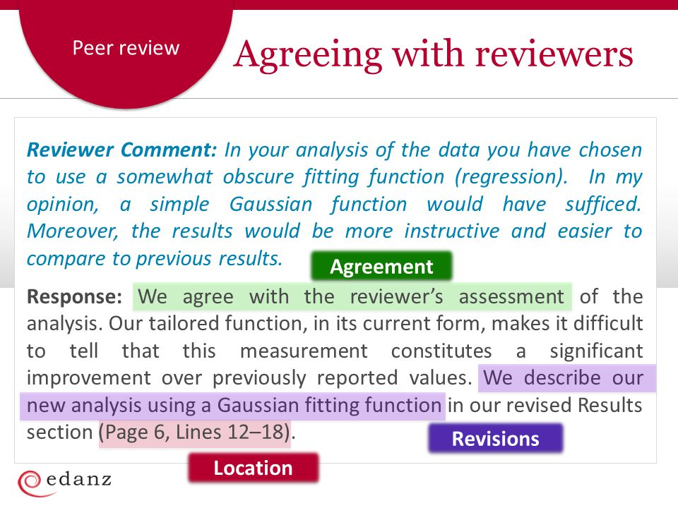 Agreeing with reviewers