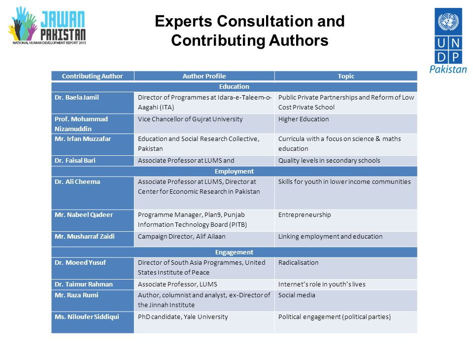 Experts Consultation and Contributing Authors