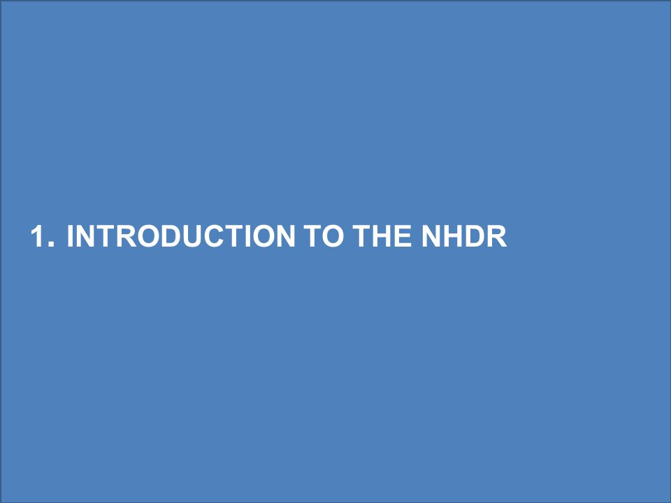 1. INTRODUCTION TO THE NHDR