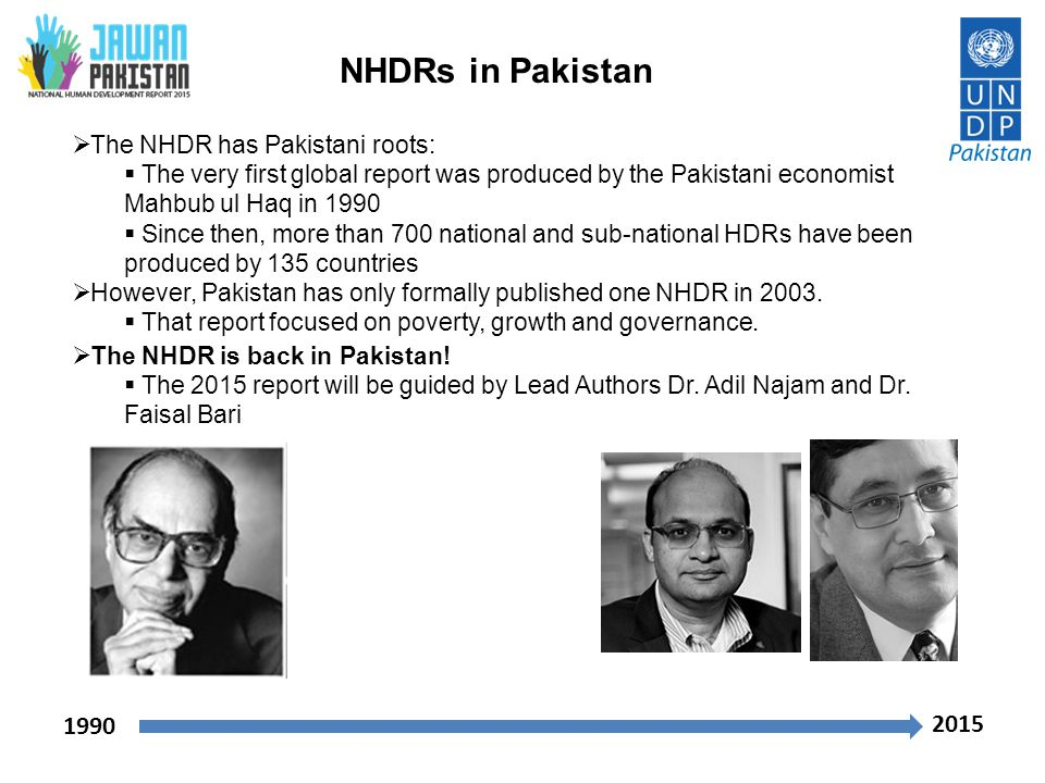 NHDRs in Pakistan 1990 2015 The NHDR has Pakistani roots: