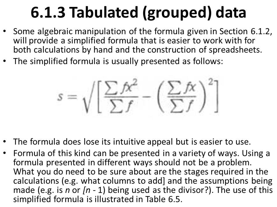 6.1.3 Tabulated (grouped) data