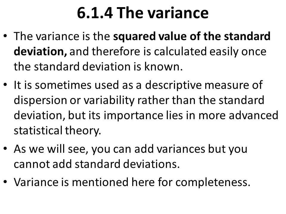 6.1.4 The variance