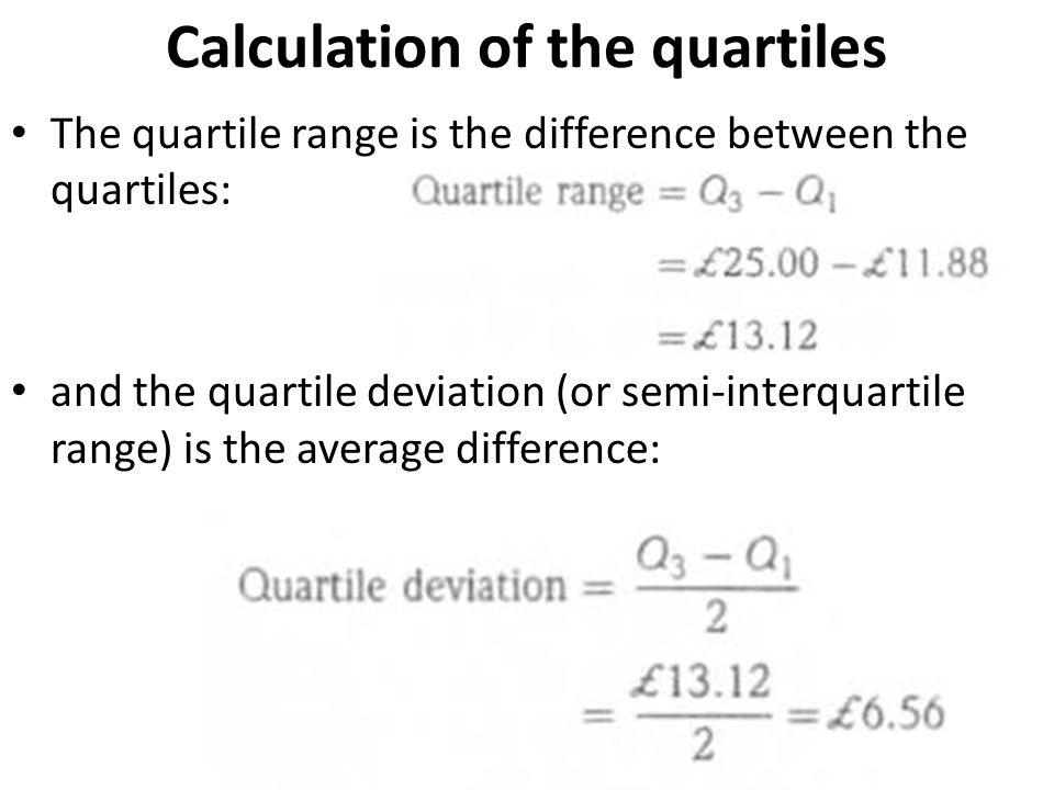 Calculation of the quartiles